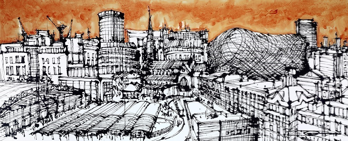 Grand Central Panorama Towards Edgbaston by Ingo -  sized 59x24 inches. Available from Whitewall Galleries